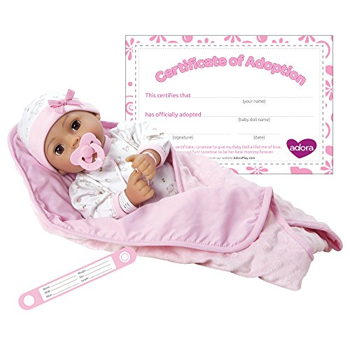 """Adora Adoption Baby """"Precious"""" 16 Inch Vinyl Girl Newborn Weighted Soft Cuddle Body Baby Doll Toy Gift Set with Open Close Brown Eyes for 3 Year old kids and up free shipping"""