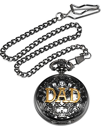 AMPM24 Women Men's Dad Black Dangle Pendant Pocket Quartz Watch Gift + Chain WPK051 by KS (Image #4)