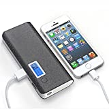 50000mAh Dual USB External Power Bank Portable LCD LED Charger for Cell Phone US Black + Grey