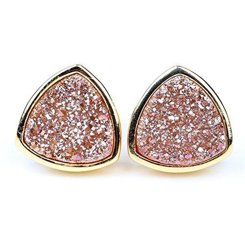 ShinyJewelry Chic Triangle Shape Druzy Stud Earrings 24k Gold Plated Piercing Earring (Bezel Ear Piercing Studs)