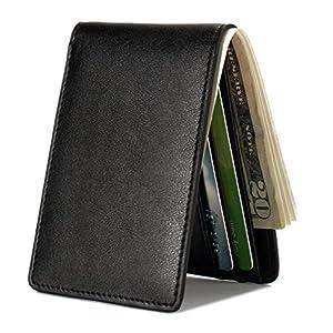 Mens Slim Front Pocket Wallet ID Window Card Case with RFID Blocking