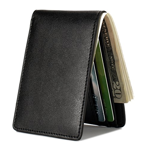 Black Wallet - Mens Slim Front Pocket Wallet ID Window Card Case with RFID Blocking - Black