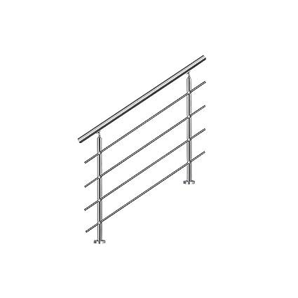 SAILUN 100cm pasamanos barandillas acero inoxidable con 4 postes parapeto,para escaleras,barandilla,