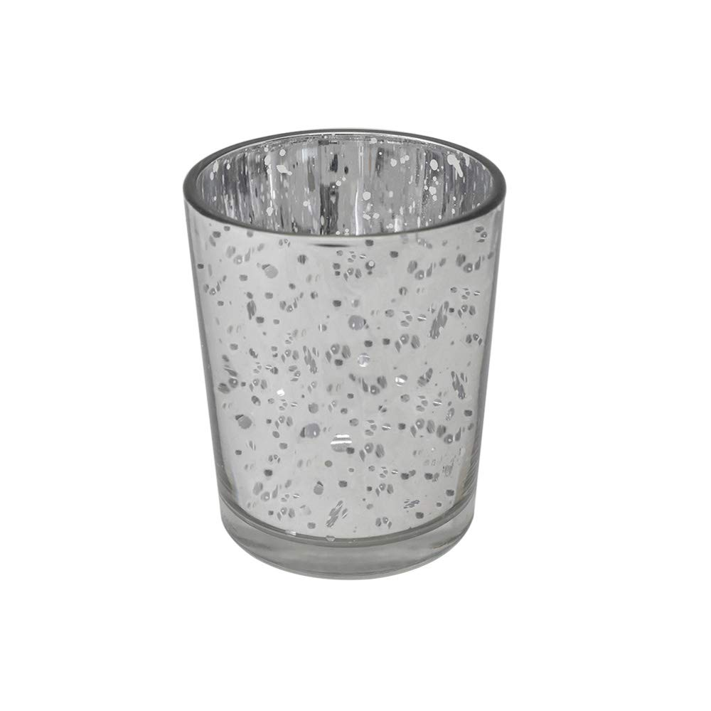 gbHome GH-6831SL75 Votive Tea Light Candle Holder, Speckled Silver Metallic Finish, Lead Free Thick Mercury Glass, Set of 75, 2'' Top D x 2.75'' H, For Weddings, Parties, Decorative LED/Tea Light Candle