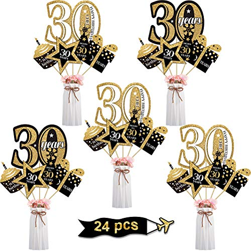 Decorations For 30th Birthday Party (Blulu 30th Birthday Party Decoration Set 30th Golden Birthday Party Centerpiece Sticks Glitter Table Toppers Party Supplies, 24 Pack (30th)