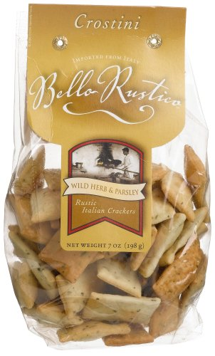 Bello Rustica Crostini, Wild Herb and Parsley Italian Crackers, 7-Ounce Bags (Pack of 12)