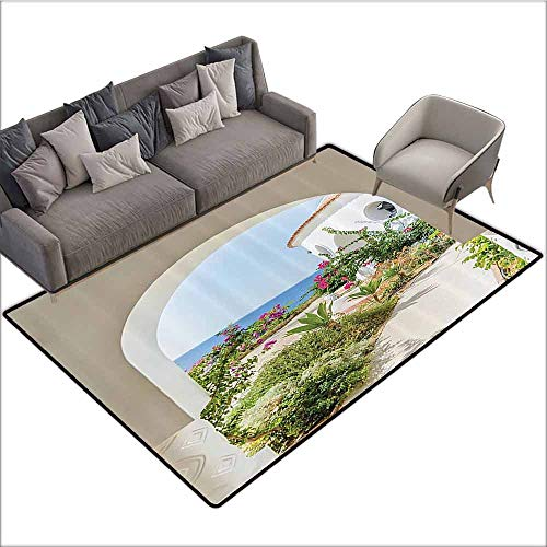 (Kitchen Mat for Living Room Mediterranean Tuscan Island Decor Collection,Flowers Garden Old Architectural Chic House Ancient Explorer Scenery 80