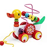 Image of YOUOWO Adorable Colorful ducklings Wooden Pull Along Toy for Baby & Toddler - Rolls Easy, Beaded wooden pull cart toy Sturdy String Attached to Animal | Classic Developmental Toy for Boys & Girls