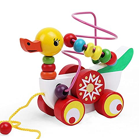 YOUOWO Adorable Colorful ducklings Wooden Pull Along Toy for Baby & Toddler - Rolls Easy, Beaded wooden pull cart toy Sturdy String Attached to Animal | Classic Developmental Toy for Boys & Girls