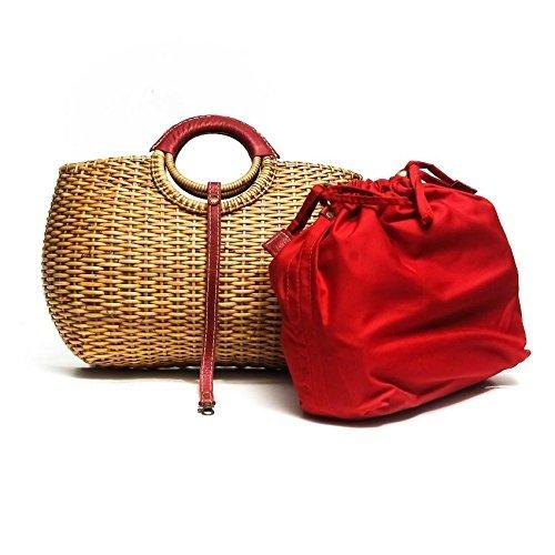 Designer Inspired Trunk Rattan Bag