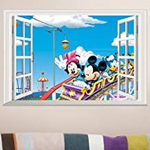 Fange DIY Removable Disney Mickey and Minnie Mouse 3d Window View Art Mural Vinyl Waterproof Wall Stickers Living Room Decor Bedroom Decal Sticker Wallpaper 22.8''x14.9''