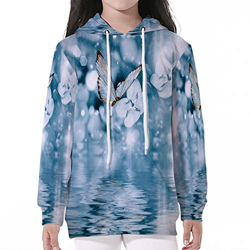 Young Boys Pullover Hoodies,Light Blue,Butterfly Over The Pond with Violet Flo -