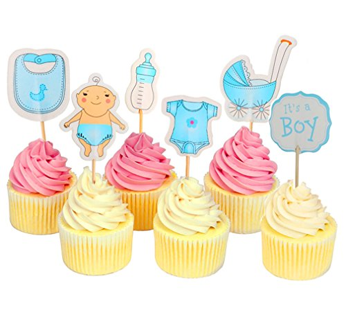 Baby Shower Cupcake Toppers for Boy It's a Boy Kids Party Cake Decorations Cupcake Toppers Gender Reveal Cupcake -