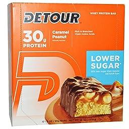 Detour, Whey Protein Bars, Caramel Peanut, 12 Bars, 3 oz