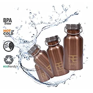 Rehydrate Pro Insulated Water Bottle with Stainless Steel Flask and Flip N Sip Sports Cap, 11.83 Oz / 350ml, Copper