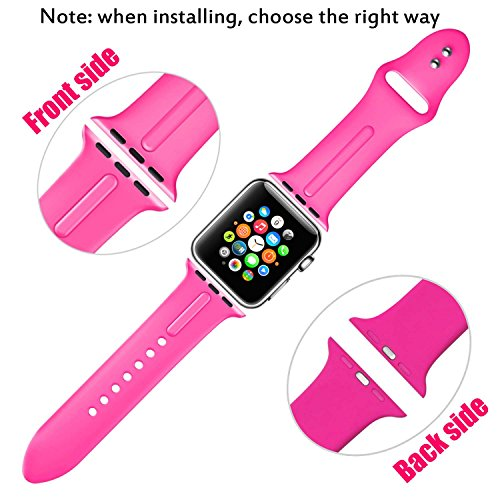 Sundo Apple Watch Band Silicone 38mm 42mm, Iwatch Replacement Wrist Strap Bracelet Band for Apple Watch Nike+ Sport Edition Series 1 Series 2 Series 3 Size S/M M/L