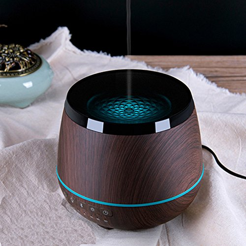 - Bluetooth Speakers Essential Oil Diffuser 200ml Ultrasonic Cool Mist Aromatherapy Aroma Diffuser with Music Humidifier Colors LED mood Light 4 Timers Waterless Auto Shut-off,Wood Grain