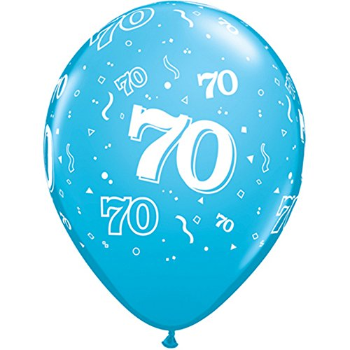 Qualatex 11 Inch Multicolored Latex 70th Birthday Balloons (Pack Of 6) (One Size) (Multicoloured) (70s Characters Fancy Dress)