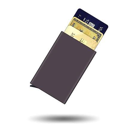 Bojly Funda de Tarjeta de crédito, Billetera de Tarjeta Anti-RFID y NFC, Estuches antirrobo de Aluminio y Poliuretano, Support máximo de 6 Tarjetas ...