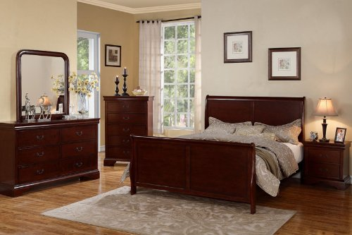 Poundex PDEX-F9231Q/F4735-36-37-38 Louis Phillipe Cherry Queen Size Bedroom Set Featuring French Style Sleigh Platform Bed and Matching Nightstand, Dresser, Mirror, Chest