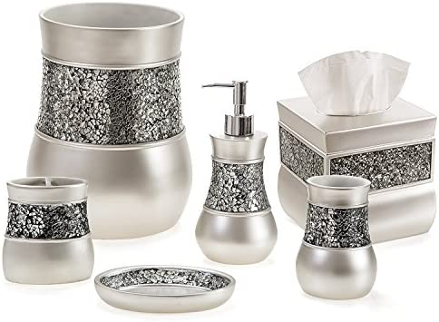 Creative Scents Bathroom Accessories Set Decorative 6 Piece Bath Accessory Decor Features Soap Dispenser Toothbrush Holder Tumbler Soap Dish Square Tissue Cover Trash Can Silver Colored Buy Online At Best Price