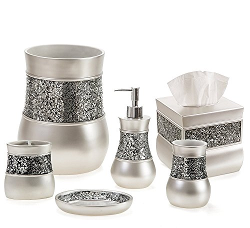 Creative Scents Bathroom Accessories Set, Decorative 6 Piece Bath Accessory Decor Features Soap Dispenser, Toothbrush Holder, Tumbler, Soap Dish, Square...