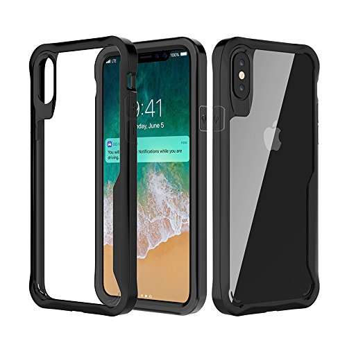 Four Panel Natural Framed Screen (Amabin iPhone X Case, iPhone 10 Case, [Supports Wireless Charging] Transparent Clear Hard PC Back Panel Soft TPU Bumper Slim Protective Case Cover for Apple iPhone X / iPhone 10 (2017) - Black)