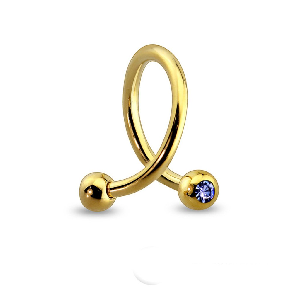 Dynamique Gold Plated Over 316L Surgical Steel Twist With Color Gem Ball