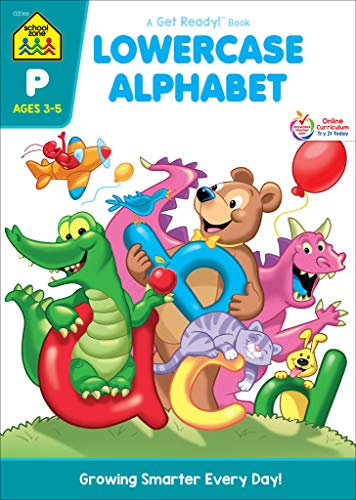 School Zone - Lowercase Alphabet Workbook, Preschool, Ages 3 to 5, Letters, Printing, Manuscript, Illustrations, and More
