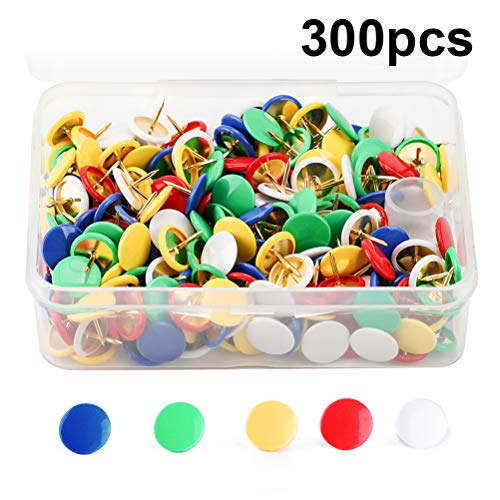MROCO Thumb Tacks Colored Drawing Pins Color Plastic Round Head Pinks Office Thumbtack, Push Pin for Home, School, Sharp Steel Points 3/8 Inch,5 Color (Red,Blue,White,Green,Yellow) Box of 300