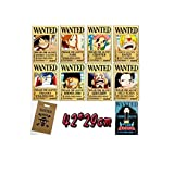 Bluefun Anime One Piece Pirates Wanted Posters 9pcs Set - Style New Big Size