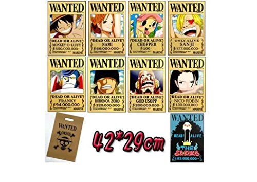 Bluefun Anime One Piece Pirates Wanted Posters 9pcs Set Style New Big Size