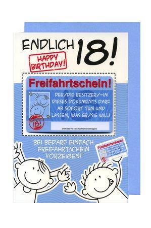 Geburtstagskarte Mit Freifahrtschein Zum 18 Geburtstag