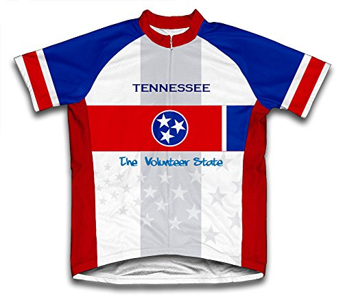Tennessee Flag Short Sleeve Cycling Jersey for Men - Size - Cycling Jersey Tennessee