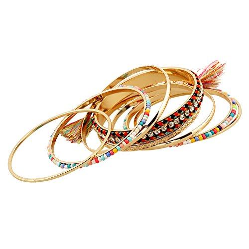 Lovelychica Bohemian Tassel Bracelet Beaded Bangle Bracelet 9 Pcs DIY Jewelry Set Women by Lovelychica (Image #1)