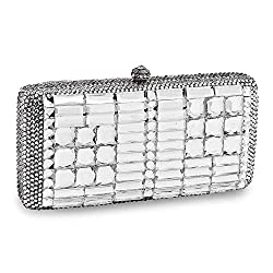 Solid Crystal Evening Bag With Chain