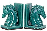 Urban Trends Collection Stoneware Horse Head on Base Bookend Assortment of Two Distressed Gloss Finish Turquoise