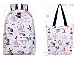 Casual Waterproof Polyester Women Backpacks Cute Hot Air Balloon Pattern Printing Girls College Daily Mochila Pink set 14 Inches