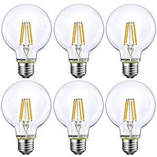 Energetic Lighting Dimmable LED Edison Light Bulb, G25 Globe Shape, Clear Glass, 60W Equivalent, 2700K Soft White, E26 Standard Base, UL Listed, 6-Pack