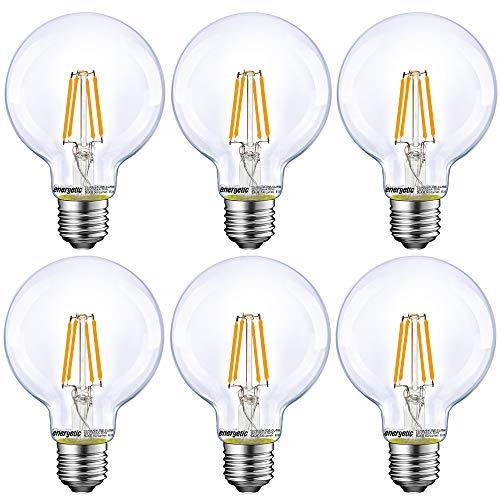 Dimmable LED Edison Light Bulb, G25 Globe Shape, Clear Glass, 60W Equivalent, 2700K Soft White, E26 Standard Base, UL Listed, 6-Pack