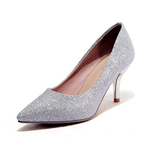 VogueZone009 Damen Rein Blend-Materialien Hoher Absatz Spitz Zehe Ziehen auf Pumps Schuhe Silber