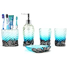 Ocean Blue Nautical Seashells Bathroom Accessories Set, Beach Bathroom Accessories Set Collection with Soap Dispenser Pump, Toothbrush Holder, Tumbler for Bathroom Vanities for Bathroom, Kitchen