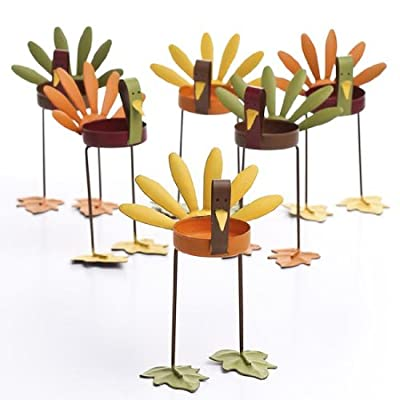 Factory Direct Craft Set of 6 Warm Autumn Painted Metal Turkey Tealight Candle Holders.