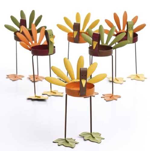 (Factory Direct Craft Set of 6 Warm Autumn Painted Metal Turkey Candle Holders.)