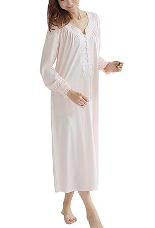 fefbbe82ac3bba Cheerlife Damen Baumwolle Langarm Nachthemd Stillnachthemd Schlafkleid mit Spitze  Nachtwäsche Vintage S Pink