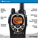 Midland - GXT1000VP4, 50 Channel GMRS Two-Way Radio - Up to 36 Mile Range Walkie Talkie, 142 Privacy Codes, Waterproof, NOAA Weather Scan + Alert