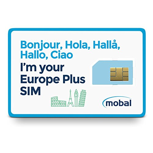 Mobal Europe Plus SIM Card Includes 1GB of Fast 4G Data, Excellent Coverage Throughout (Card Coverage)