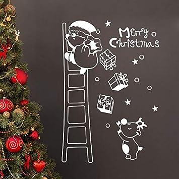 ZRSCL Feliz Navidad Etiqueta de la pared Santa Escalera ...