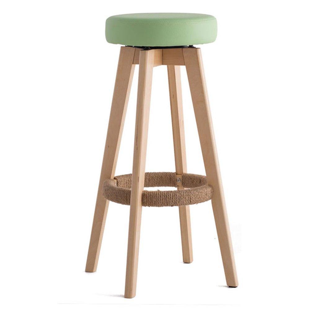 カウンターチェア木製の回転シート椅子ハイスツールバーキッチン朝食スツールノルディックシンプルスタイルグリーン (サイズ さいず : 45cm*45cm*65.5cm) B07DHM46RH45cm*45cm*65.5cm