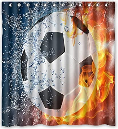 Amazon Top Design Football Shower Curtain 66w X 72h